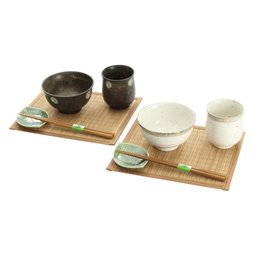 Elegant Mino Ware Natural Style Meal Set