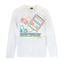 King of Games Super Famicom White Long Sleeve T-Shirt w/ Collector's Box & Logo Badge