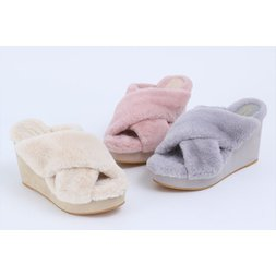 Honey Salon Fur Cross Wedge Sandals