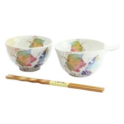 Hana Tsumi Mino Ware Grape Rice Bowl Set