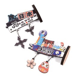 Souvenir Japan Protruding Wood Magnet Collection