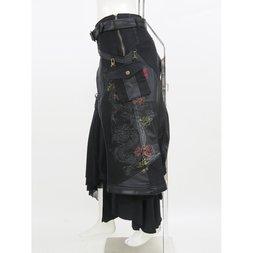 Ozz Conte Samurai 7 Irregular Cut Dragon Print Long Skirt