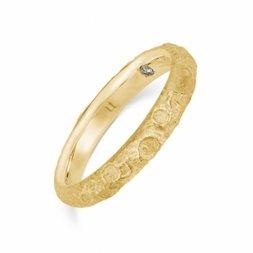 Evangelion 18K Yellow Gold White Moon Ring