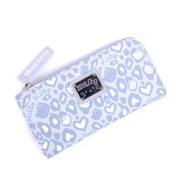 bd16b8e19d8 Hello Kitty Light Gray   White Leopard Half-Zip Wallet