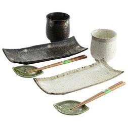 Elegant Mino Ware Natural Style Sushi Set