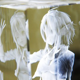 This isn't a doppelganger of GUMI, it's a 3D representation made up of tiny polyhedrons. Even from this view it's, fun to look at.