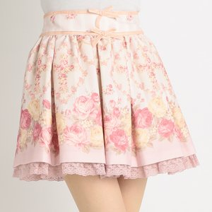 LIZ LISA Floral Cross Pattern Sukapan Skirt