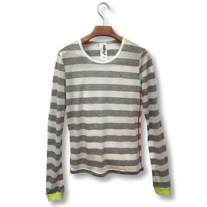 Otaku Apparel & Cosplay / Tops / Hatsune Miku Timeline Striped Long Sleeve T-Shirt (White)