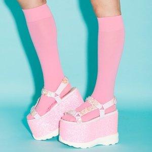 J-Fashion / Shoes / Swankiss Lamé Flower Sandals
