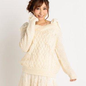 LIZ LISA V-Neck Knit Pullover w/ Bows