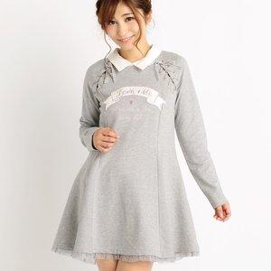 LIZ LISA Comfy Flare Dress w/ Collar (Gray)