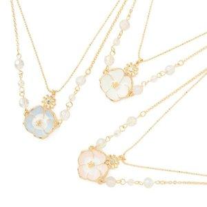 LIZ LISA Double Strand Pansy Necklace