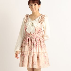 LIZ LISA Flower Check Pattern Pinafore Dress
