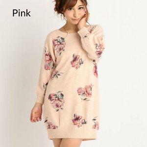 LIZ LISA Floral Angora Blend Sweater Dress