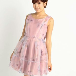 LIZ LISA Pansy Pattern Organdy Dress