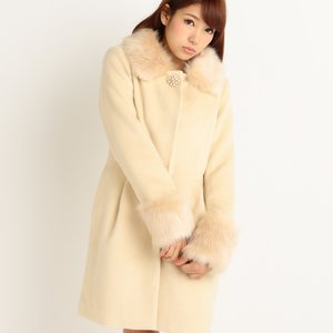 LIZ LISA Faux Fur Collar & Cuffs Cocoon Coat Beige
