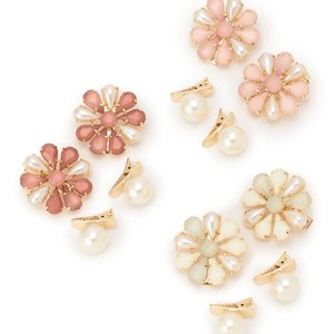 LIZ LISA Pearl & Flower Hair Clips (Set of 4)