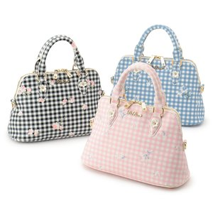 LIZ LISA Round Gingham Flower Bag