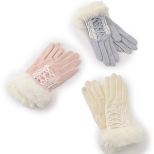 LIZ LISA Lace-Up Winter Gloves