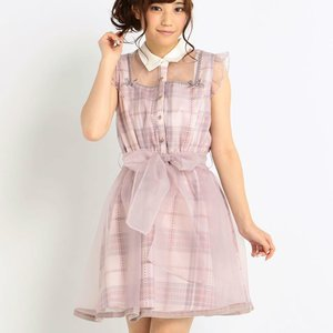 LIZ LISA Layered Collar Tartan Dress