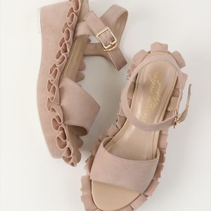 Honey Salon Frilly Sandals (Pink Beige)