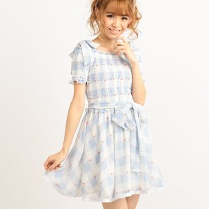 LIZ LISA Gingham Shirred Flower Dress