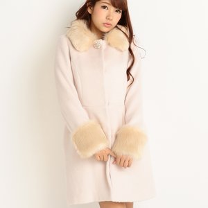 LIZ LISA Faux Fur Collar & Cuffs Cocoon Coat