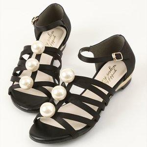 J-Fashion / Shoes / Honey Salon Big Pearl Sandals (Black)