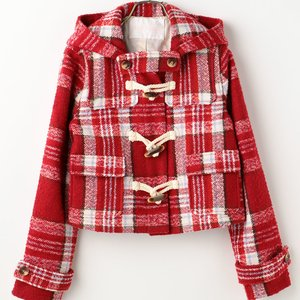 LIZ LISA Checkered Short Duffle Coat