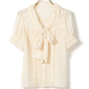 LIZ LISA Short-Sleeve Bow Tie Blouse