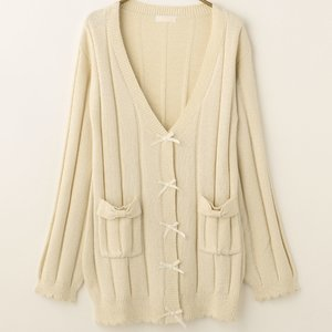 LIZ LISA Wide Ribbed Lamé Long Cardigan