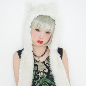 J-Fashion / Other Accessories / Lunatic Lemony Lollipop Snow White Cat Hooded Muffler