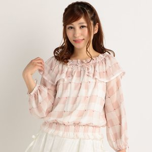 LIZ LISA Gingham Bow Tie Blouse