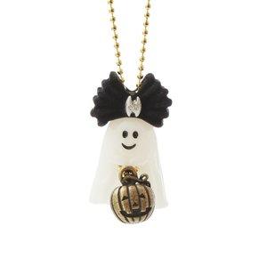 Q-pot. Petit Ghost Sheets Necklace / Black Bat Charm / Jack-o-lantern Charm Set