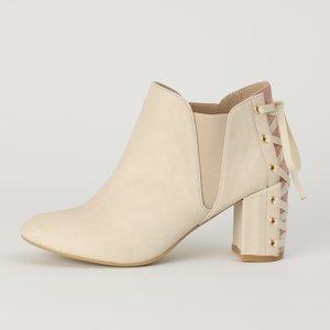 J-Fashion / Shoes / Honey Salon Lace-Up Booties (Light Beige)