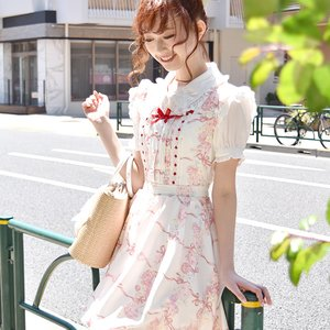 LIZ LISA Rose Ribbon Checkered Jumper Skirt