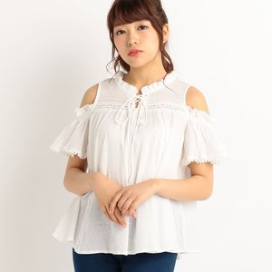 LIZ LISA Lace-Up Off-Shoulder Tunic