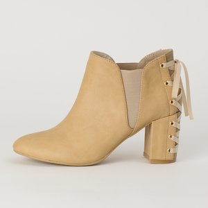 Honey Salon Lace-Up Booties (Camel)