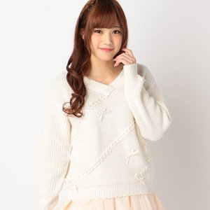 LIZ LISA Ribbon Knit Long Sleeve Shirt