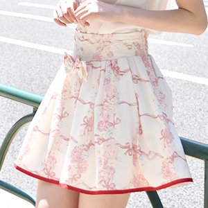 LIZ LISA Rose Ribbon Checkered Sukapan Skirt