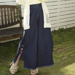LIZ LISA Lace-Up Denim Wide Pants