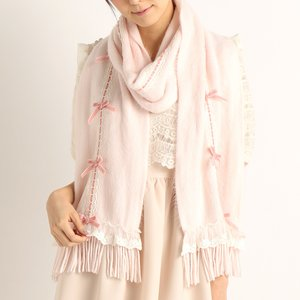 LIZ LISA Lace & Ribbon Fuzzy Scarf