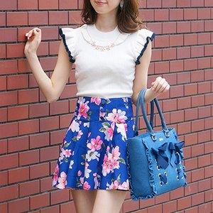 LIZ LISA Large Floral Print Flared Sukapan Skirt