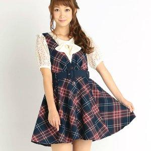 LIZ LISA Tartan Jacquard Pinafore Dress