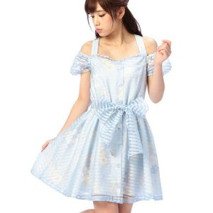 LIZ LISA Striped Organdy Floral Dress w/ Official LIZ LISA Shop Bag