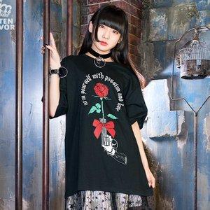 LISTEN FLAVOR Rose & Pistol Big T-Shirt