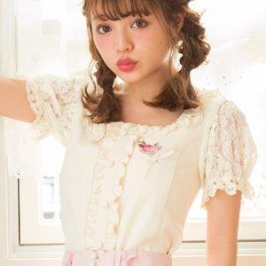 LIZ LISA Embroidered Puff Sleeve Top