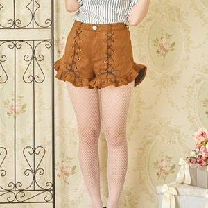 Swankiss Lace-Up Ruffled Hem Shorts