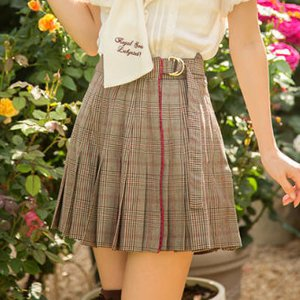 LIZ LISA Checkered Pleated Sukapan Skirt