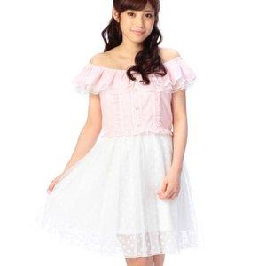 LIZ LISA Striped Off-the-Shoulder Dress
